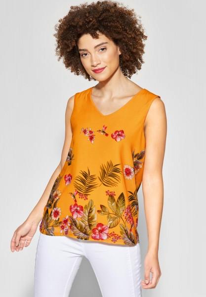 Street One - Chiffon Shirt mit Print in Bright Clementine