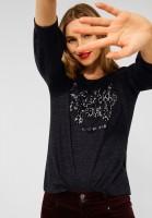 Street One - Shirt mit Wording in Anthracite Melange