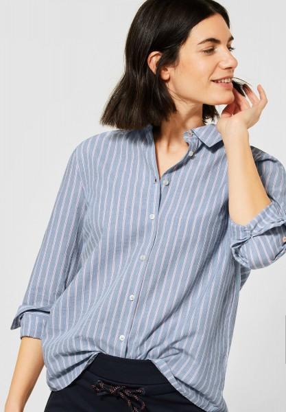 CECIL - Hemdbluse mit Streifen in Mid Blue Used Wash