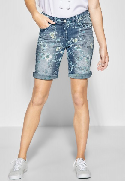 CECIL - Blumenprint Shorts Scarlett in Authentic Used Wash Mid Blue