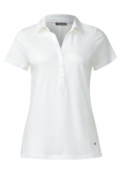 Street One - Kurzarm-Poloshirt Ebony Off White