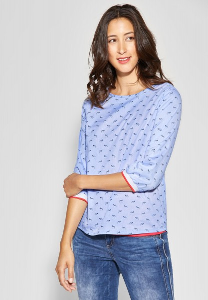 Street One - Chambray-Print Bluse in Heaven Blue