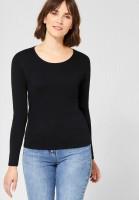 CECIL - Basic Langarmshirt Pia in Black