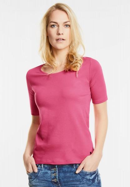 CECIL - Basic Halbarmshirt Lena in Caribbean Pink