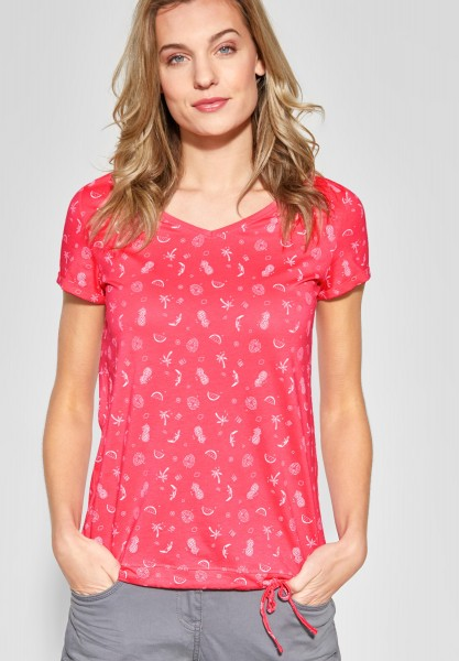 CECIL - Allover Print Shirt in Neo Coralline Red
