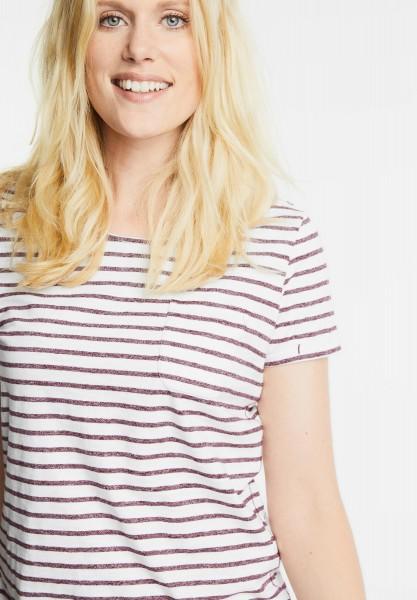 CECIL - Shirt mit Streifenprint Lia in Deep Pink Melange