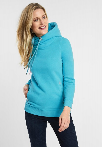 CECIL - Pullover im Hoodie Style in Peppermint Blue Melange