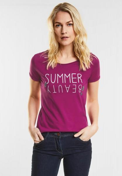 CECIL - T-Shirt mit Wordingprint in Magic Pink