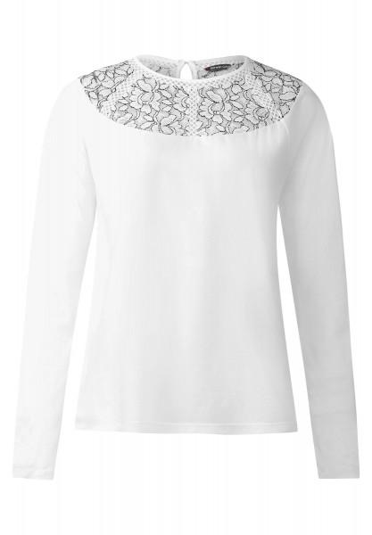 Street One - Shirt mit Spitzenpasse Kelly in Off White