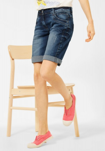 CECIL - Blaue Loose Fit Shorts in Mid Blue Used Wash