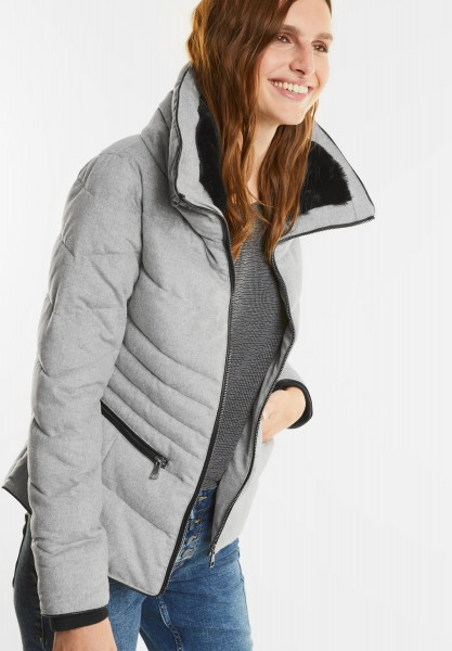 Street One - Kurze Steppjacke mit Wolle in Misty Grey Melange