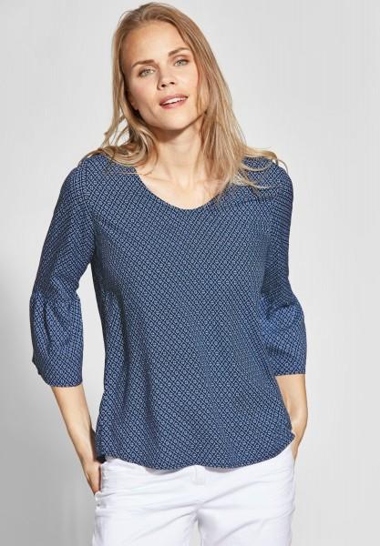 CECIL - Bluse mit Volant und Print in Deep Blue