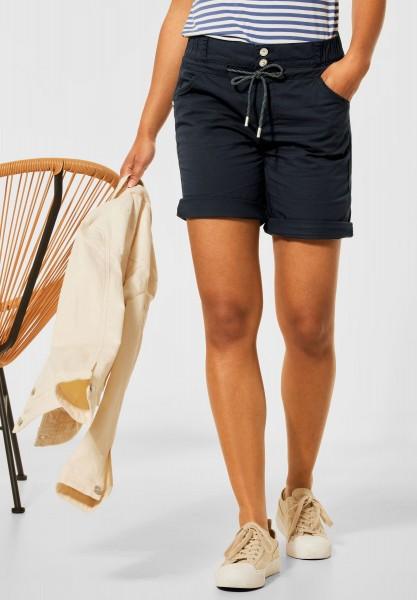 Street One - Loose Fit Shorts in Unifarbe in Dark Foggy Blue