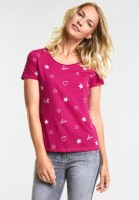 CECIL Weiches Print Shirt in Bright Magenta