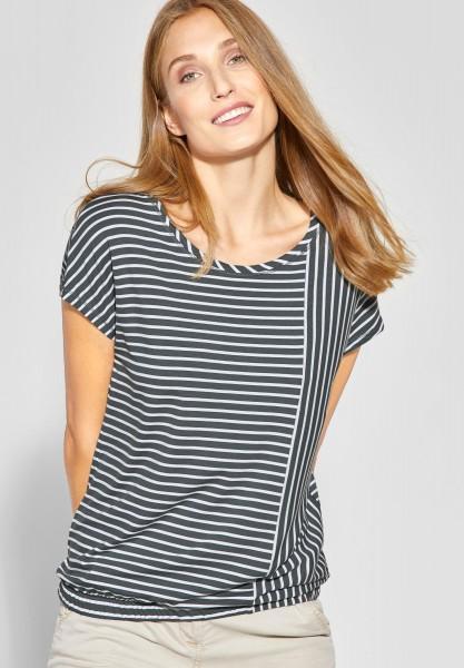 CECIL - Shirt mit Patchwork-Streifen in Slate Green