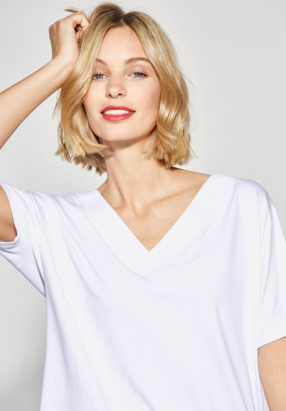 Street One - Shirt mit gewebten V-Neck in White