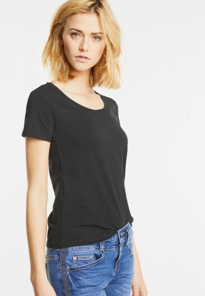 Street One - Basic Rundhalsshirt Plia in Black