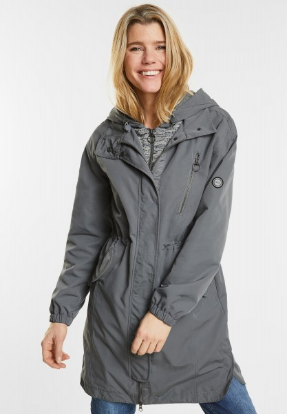 CECIL - Schimmernder Bouclé Parka in Graphit Light Grey