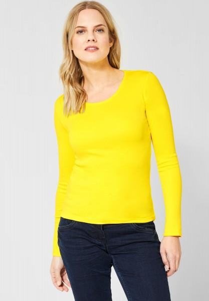 CECIL - Basic Langarmshirt Pia in Fresh Yellow