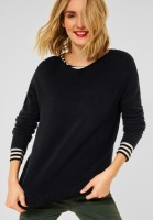 Street One - Softer U-Boot Pullover in Black