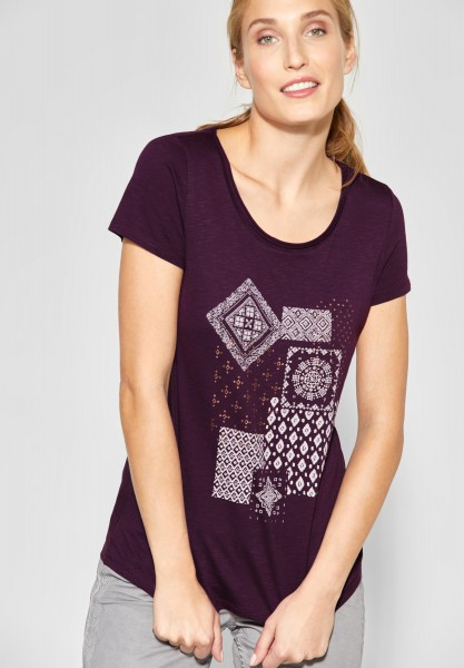 CECIL - Shirt mit Frontprint in Deep Berry