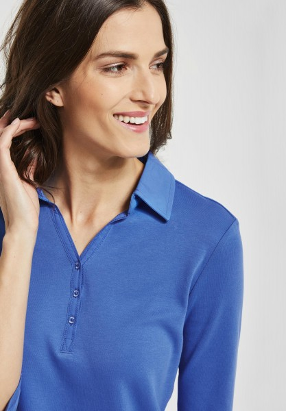 CECIL - Polo Shirt mit 3/4 Ärmeln in Cornflower Blue