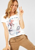 CECIL - T-Shirt mit Partprint in Pure Off White
