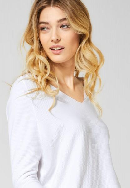 Street One - Pullover mit V-Ausschnitt in White
