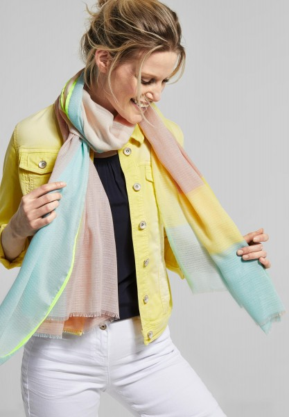 CECIL - Color Block Schal mit Muster in Neo Mint