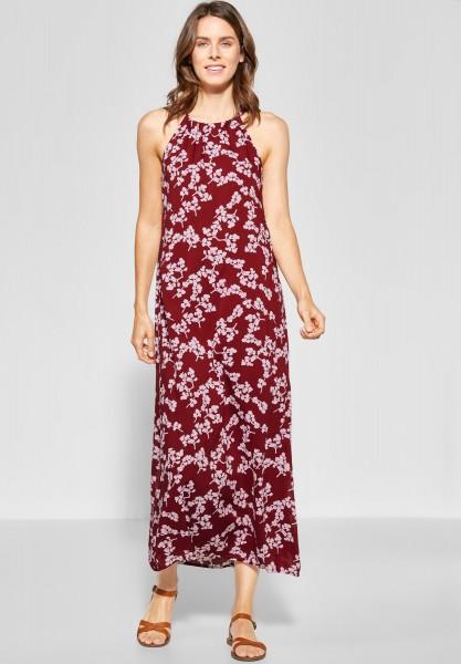 Street One - Neckholder Kleid mit Print in Wine Red