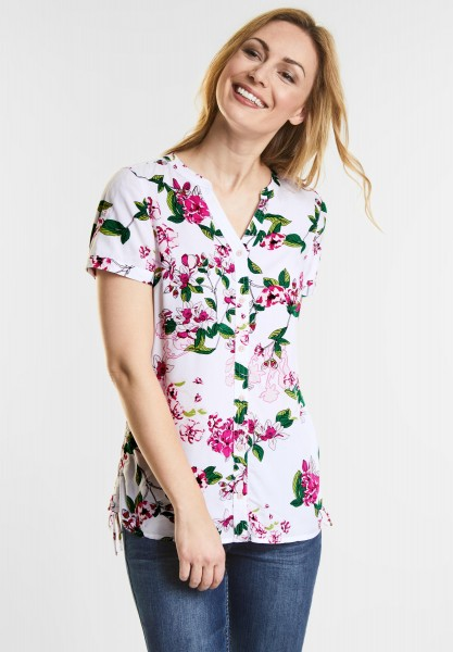 CECIL - Flower Print Bluse in White