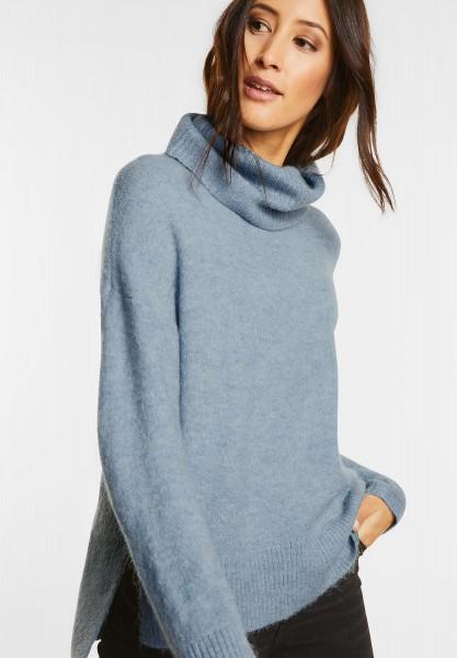 Street One - Lässiger Rollkragen Pullover in Ice Blue Melange