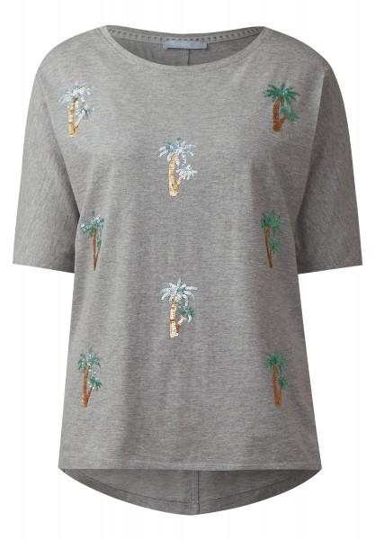 CECIL - Shirt mit Pailletten Palmen in Silver Grey Melange