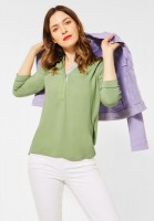 Street One - Unifarbene Materialmix-Bluse in Faded Green