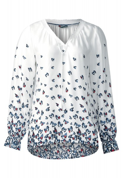 Street One - Butterflyprint Bluse Margie in Nordic Blue