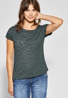 CECIL - Shirt mit Burn-Out Muster in Slate Green