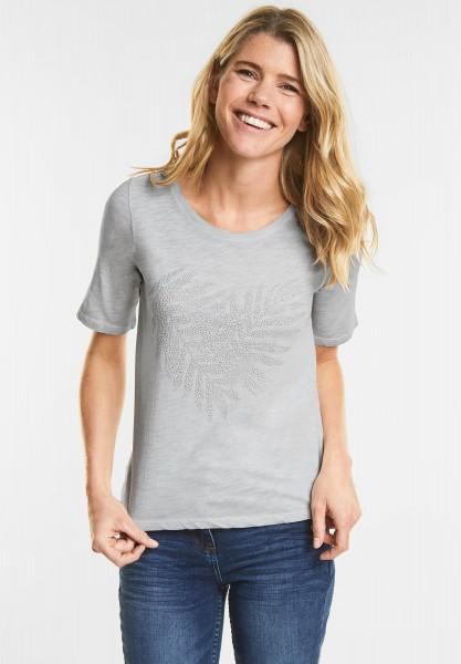 CECIL - Weiches Shirt mit Strass in Cool Silver