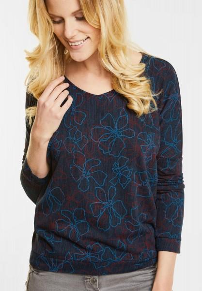 Cecil - Melange Shirt mit Blüten in Deep Blue Melange