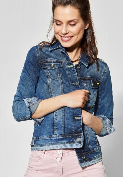 CECIL - Jeansjacke mit Detail in Mid Blue Used Wash