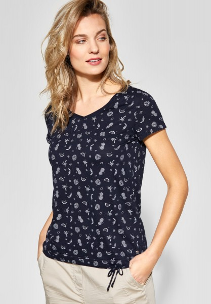 CECIL - Allover Print Shirt in Deep Blue