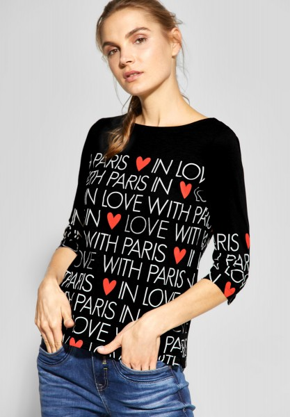 Street One - Shirt mit Wording Print in Black