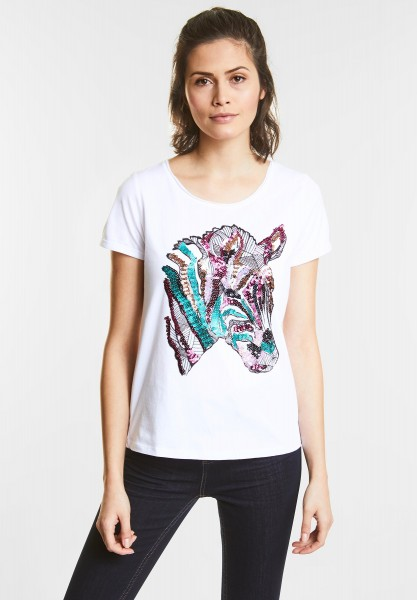 Street One - Shirt mit Pailletten-Print in White