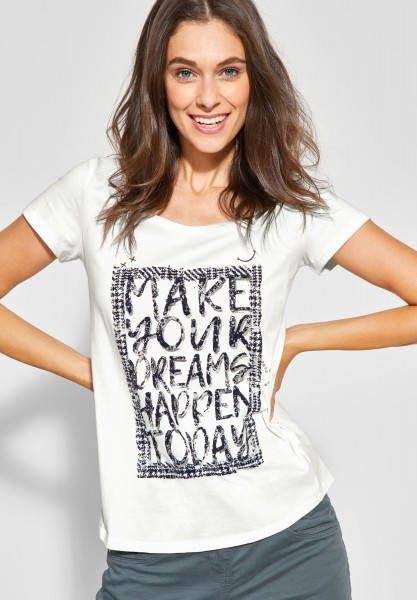 CECIL - T-Shirt mit Wording Print in Pure Off White