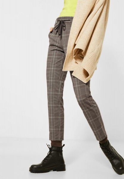 CECIL - Glencheck-Hose Tracey in Misty Mocca Brown