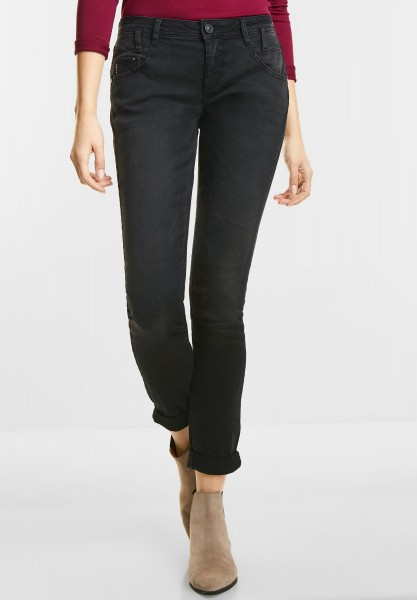 Street One - Black Crinkle Denim Crissi in Black Stone Wash