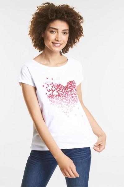 Street One - Print Shirt mit Wording in Weiß