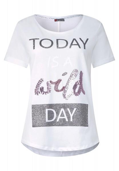 Street One - T-Shirt mit Glitzer Wording in White