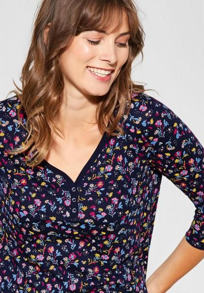 CECIL - Shirt mit Blumenmuster in Deep Blue