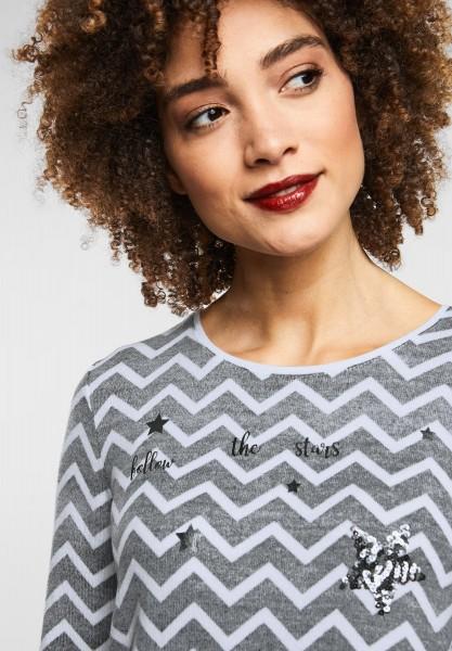 Street One - Print Shirt mit Pailletten in Black