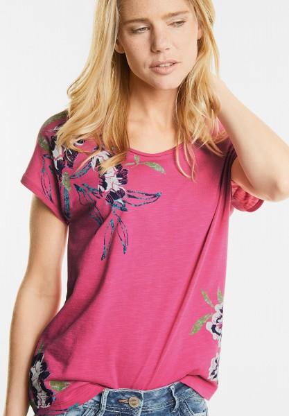 CECIL - Shirt mit tropischen Blüten in Caribbean Pink